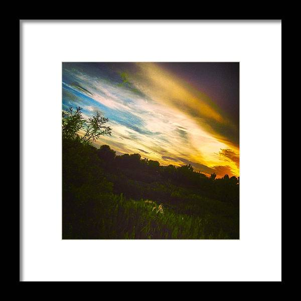 Florida Sunset Framed Print featuring the photograph Yellow Blue And Green by K Simmons Luna