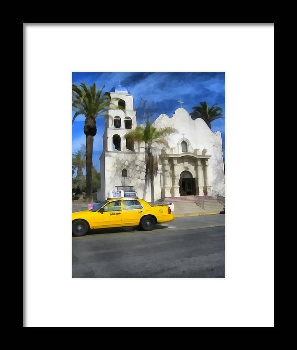Cab Framed Print featuring the painting Yellow Cab by Ann Powell