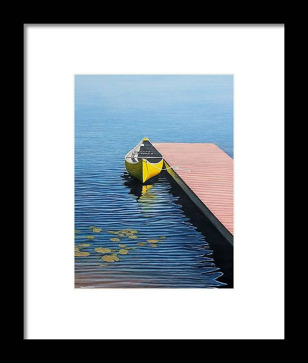 Landscape Paintings Framed Print featuring the painting Yellow Canoe by Kenneth M Kirsch