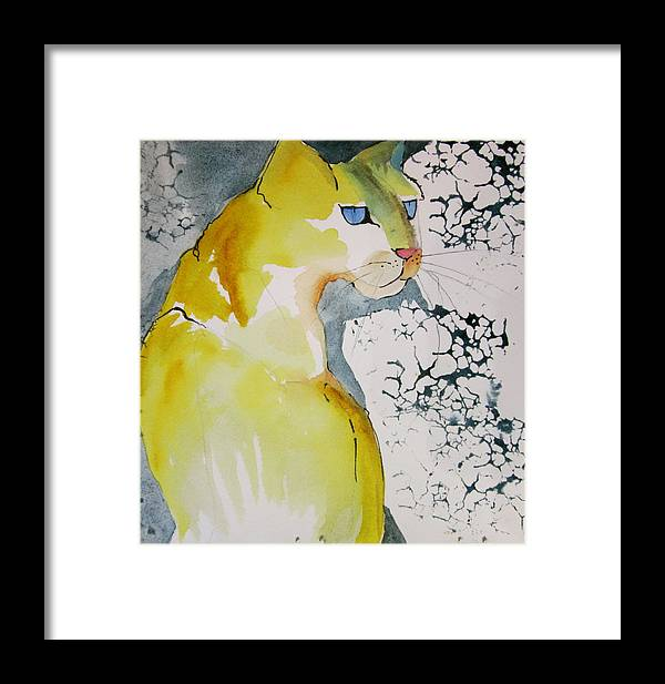 Cat Framed Print featuring the painting Yellow Cat by Jane Ferguson