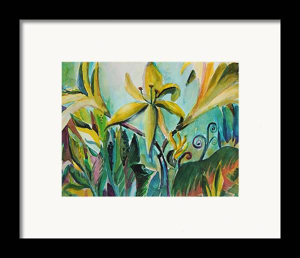 Lily Framed Print featuring the painting Yellow Day Lilies by Mindy Newman