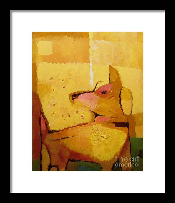 Dog Framed Print featuring the painting Yellow Dog by Lutz Baar