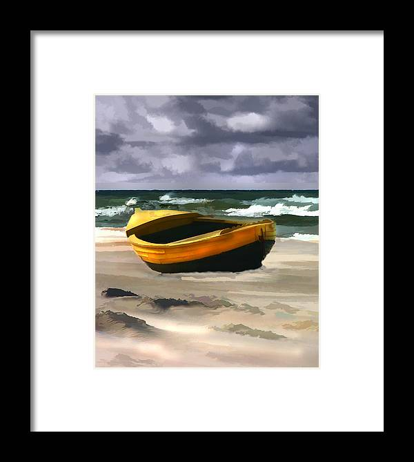Landscape Framed Print featuring the painting Yellow Fishing Dory Before The Storm by Elaine Plesser