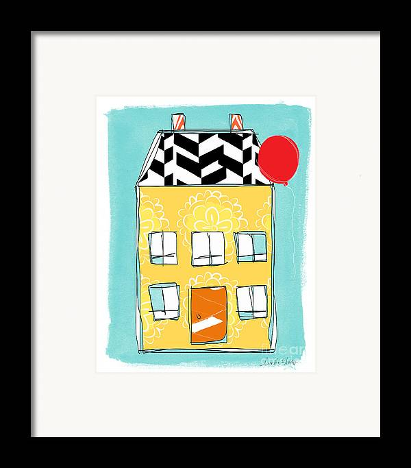 House Framed Print featuring the painting Yellow Flower House by Linda Woods
