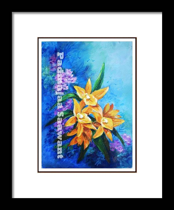 Framed Print featuring the painting Yellow Flower by Nalini Sawant