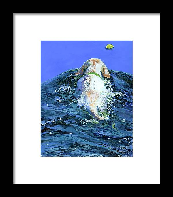Yellow Labrador Retriever Framed Print featuring the painting Yellow Lab Blue Wake by Molly Poole