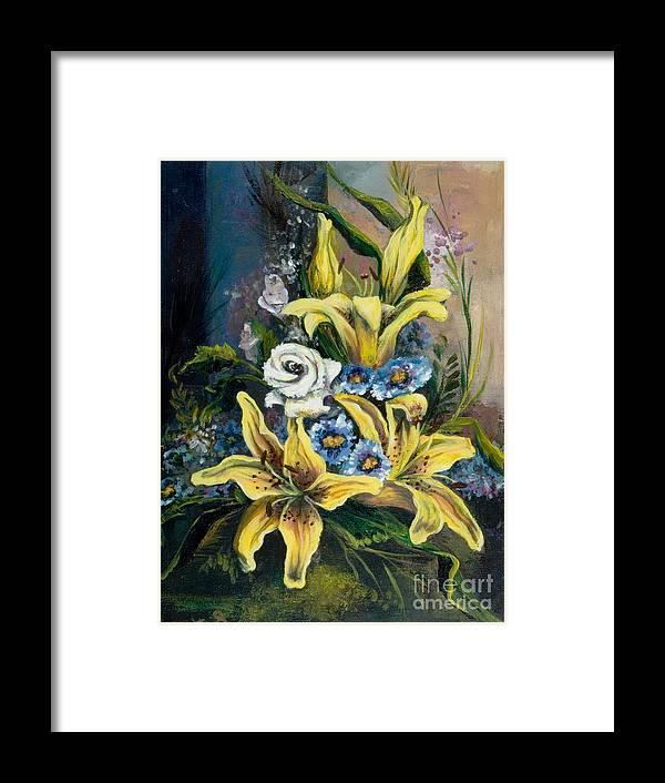 Originals Framed Print featuring the painting Yellow Lillies by Elisabeta Hermann