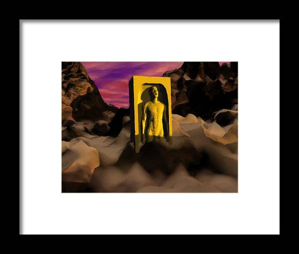 Yellow Framed Print featuring the painting Yellow Monolith-large by Peter Cochran