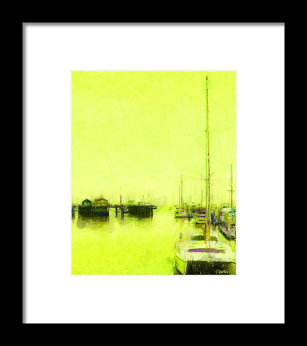 Framed Print featuring the digital art Yellow Mooring by Jim Pavelle
