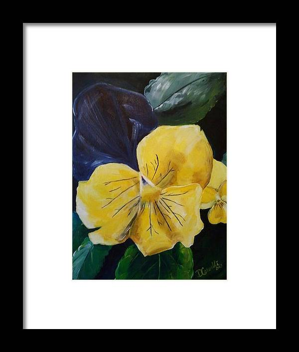 Flower Framed Print featuring the painting Yellow Pansy by Donna Cervelli