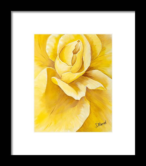 Rose Framed Print featuring the painting Yellow Rose Close Up by Debi Bond