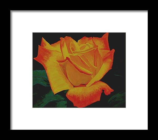 Yellow Rose Framed Print featuring the painting Yellow Rose by Stan Hamilton