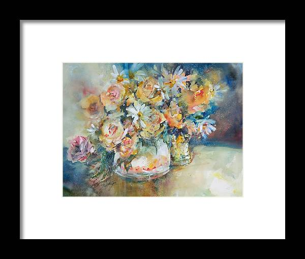 Floral Framed Print featuring the painting Yellow Roses by Kathryn Kaye
