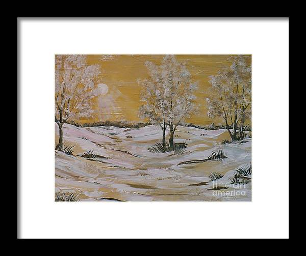 Impressionistic Landscape Framed Print featuring the painting Yellow Sun Rise by Doreen Karales Zonts