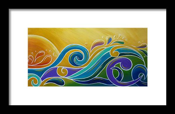 Abstract Prints Framed Print featuring the painting Yellow Sun Surf by Reina Cottier
