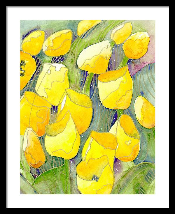 Yellow Tulips Framed Print featuring the painting Yellow Tulips 2 by Ingela Christina Rahm