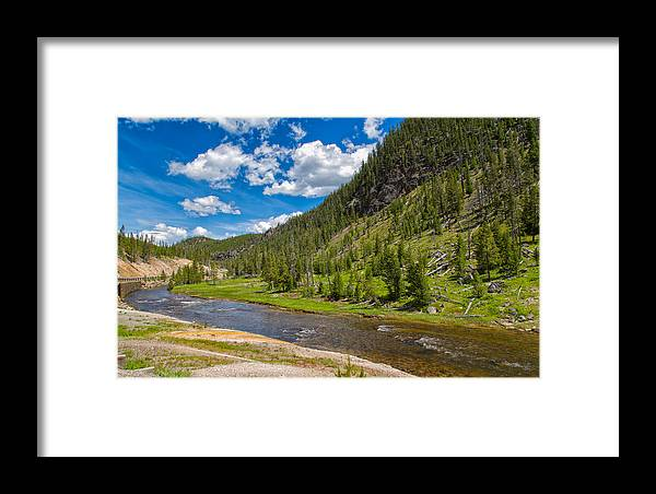 Landscape Framed Print featuring the photograph Yellowstone Gibbon River by John M Bailey