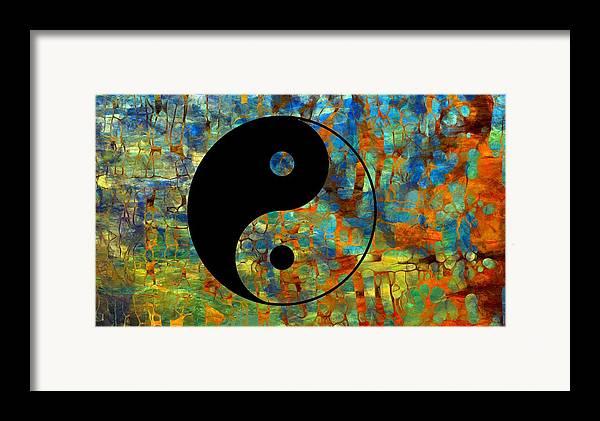 Yin Yang Abstract Framed Print featuring the digital art Yin Yang Abstract by Dan Sproul