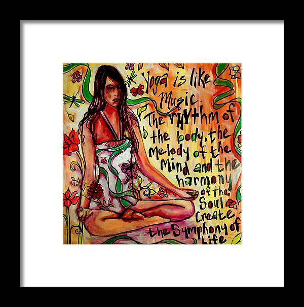 Yoga Framed Print featuring the painting Yoga Is.... by Kimberly Dawn Clayton