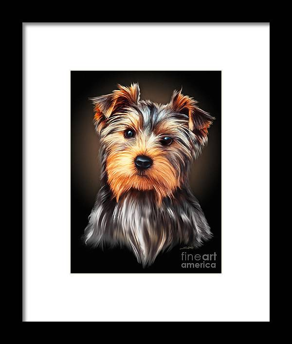 Spano Framed Print featuring the painting Yorkie Portrait By Spano by Michael Spano