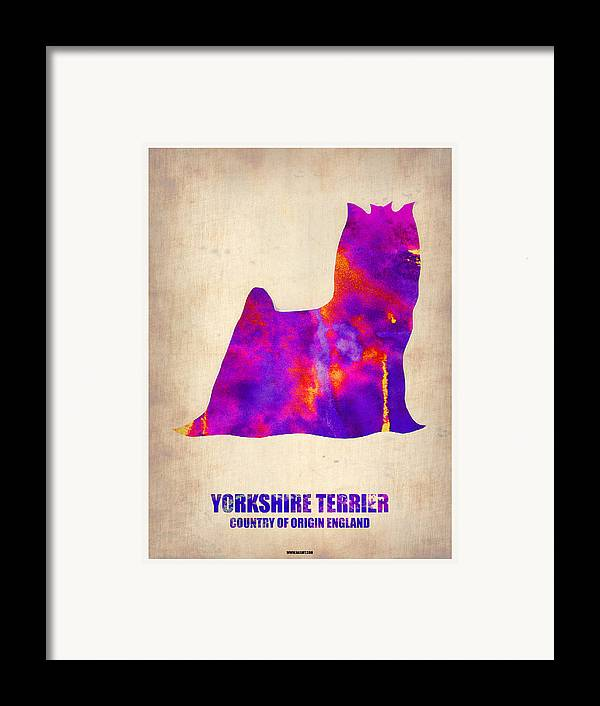 Yorkshire Terrier Framed Print featuring the painting Yorkshire Terrier Poster by Naxart Studio
