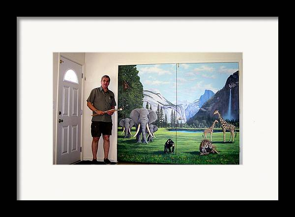 Mural Framed Print featuring the painting Yosemite Dreams Mural On Doors by Frank Wilson