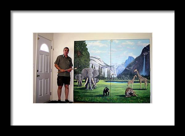 Mural Framed Print featuring the painting Yosemite Dreams Mural On Doors by Frank Wilson