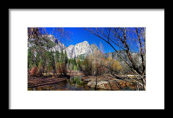 California Framed Print featuring the photograph Yosemite Falls Along The Merced River by Scott McGuire
