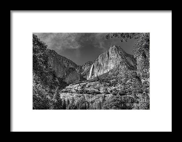 Black And White Framed Print featuring the photograph Yosemite Falls - Bw by James Anderson