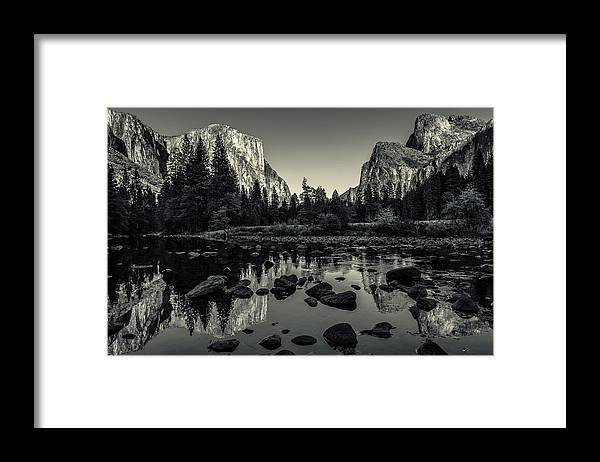 Ansel Adams Framed Print featuring the photograph Yosemite National Park Valley View Reflection by Scott McGuire