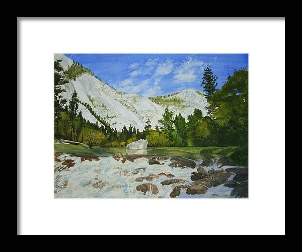 Landscape Framed Print featuring the painting Yosemite Park by Monika Degan