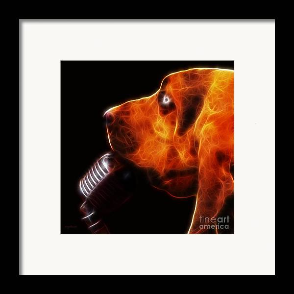 Animal Framed Print featuring the photograph You Ain't Nothing But A Hound Dog - Dark - Electric by Wingsdomain Art and Photography