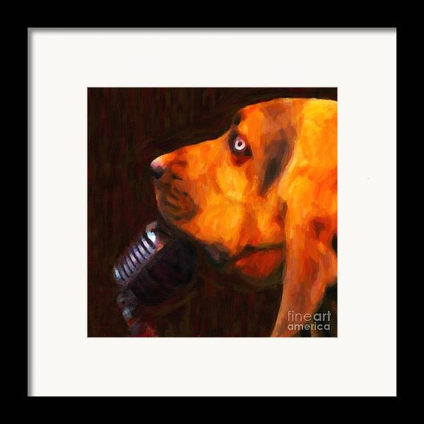 Animal Framed Print featuring the photograph You Ain't Nothing But A Hound Dog - Dark - Painterly by Wingsdomain Art and Photography