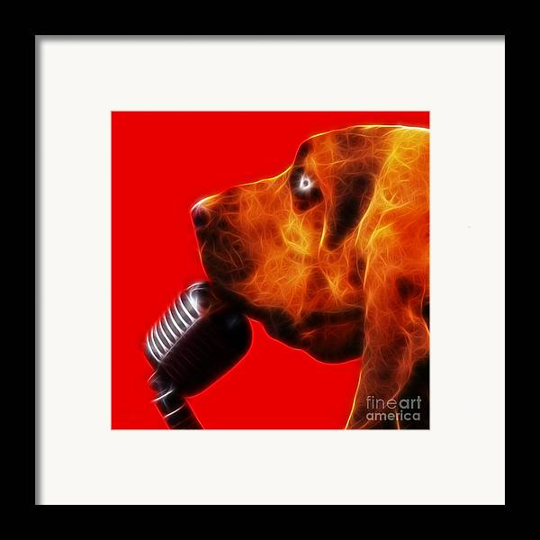 Animal Framed Print featuring the photograph You Ain't Nothing But A Hound Dog - Red - Electric by Wingsdomain Art and Photography