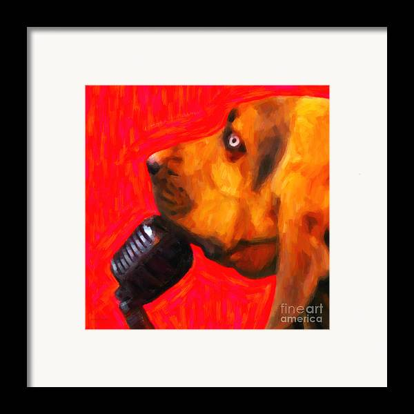 Animal Framed Print featuring the photograph You Ain't Nothing But A Hound Dog - Red - Painterly by Wingsdomain Art and Photography