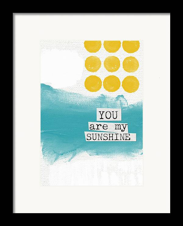 Love Framed Print featuring the painting You Are My Sunshine- Abstract Mod Art by Linda Woods