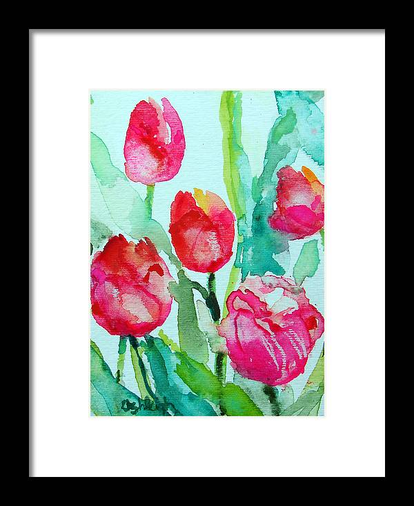 Flowers Framed Print featuring the painting You Enlighten Me- Painting Of Tulips by Ashleigh Dyan Bayer