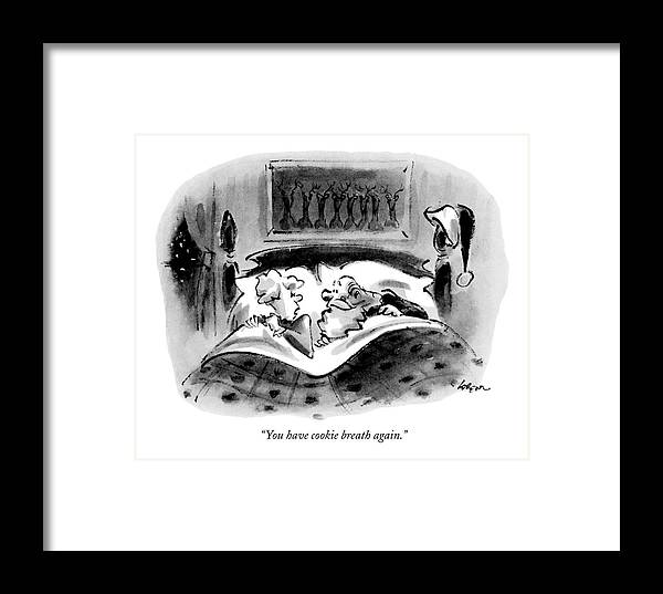 Holidays Framed Print featuring the drawing You Have Cookie Breath Again by Lee Lorenz