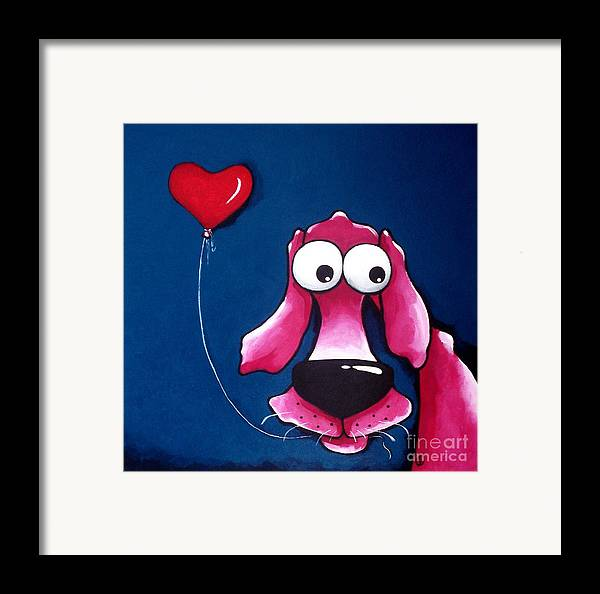 The Pink Dog Framed Print featuring the painting You Have My Heart by Lucia Stewart