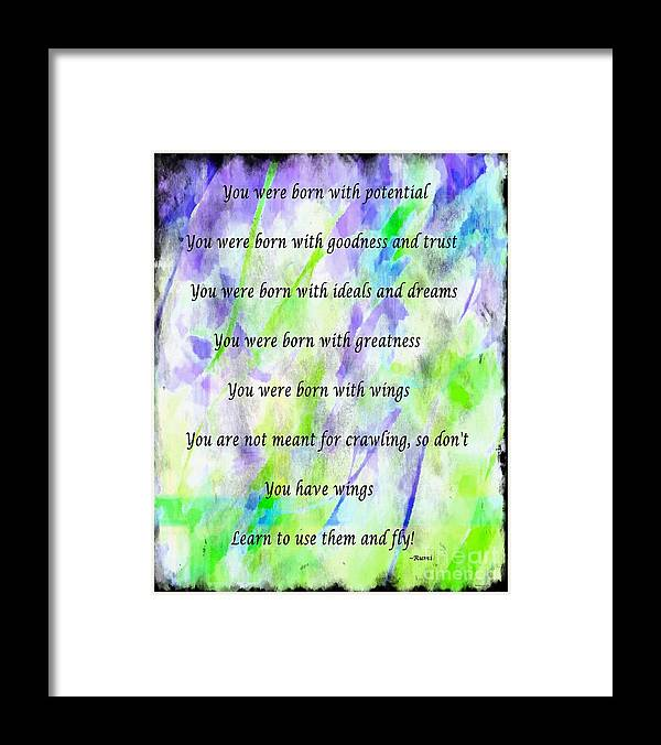 You Have Wings Framed Print featuring the digital art You Have Wings 2 by Barbara Griffin
