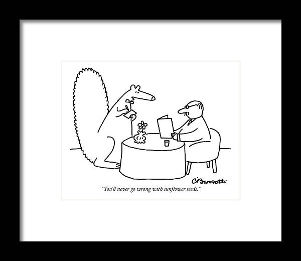 Squirrels Framed Print featuring the drawing You'll Never Go Wrong With Sunflower Seeds by Charles Barsotti