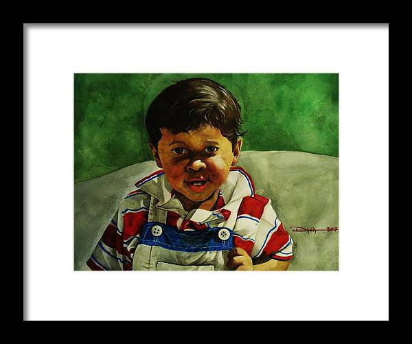 Portraits Framed Print featuring the painting young Giovanni by Dana Newman