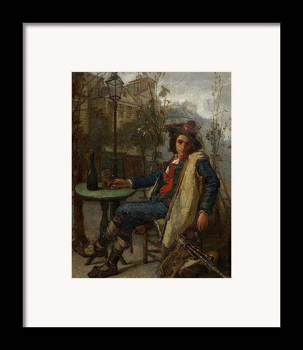 Young Italian Street Musician Framed Print featuring the painting Young Italian Street Musician by Thomas Couture