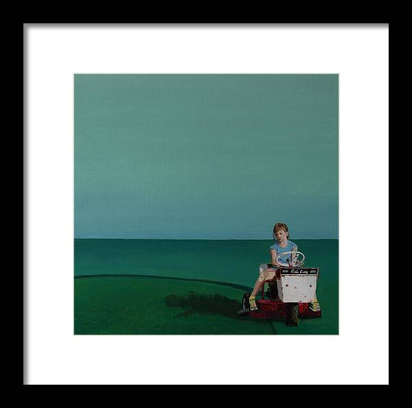 Landscape Framed Print featuring the painting Young Lady Mowing by Kyle Richardson