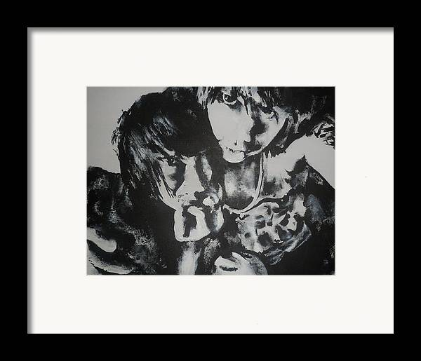 Black Framed Print featuring the painting Young Lovers by Cherise Foster