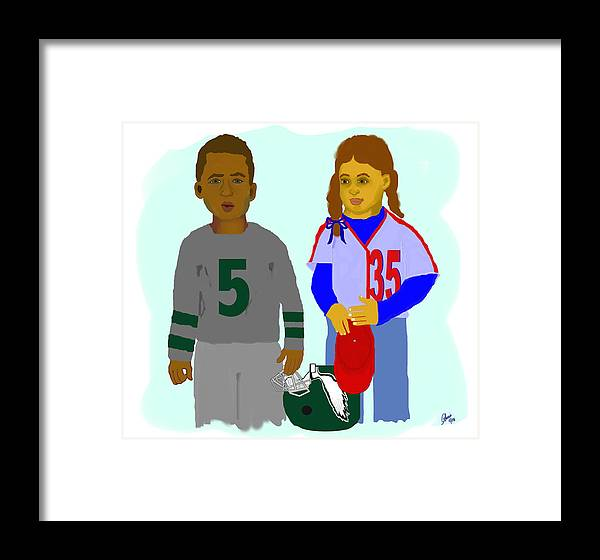 Sports Framed Print featuring the painting Young Phans by Pharris Art