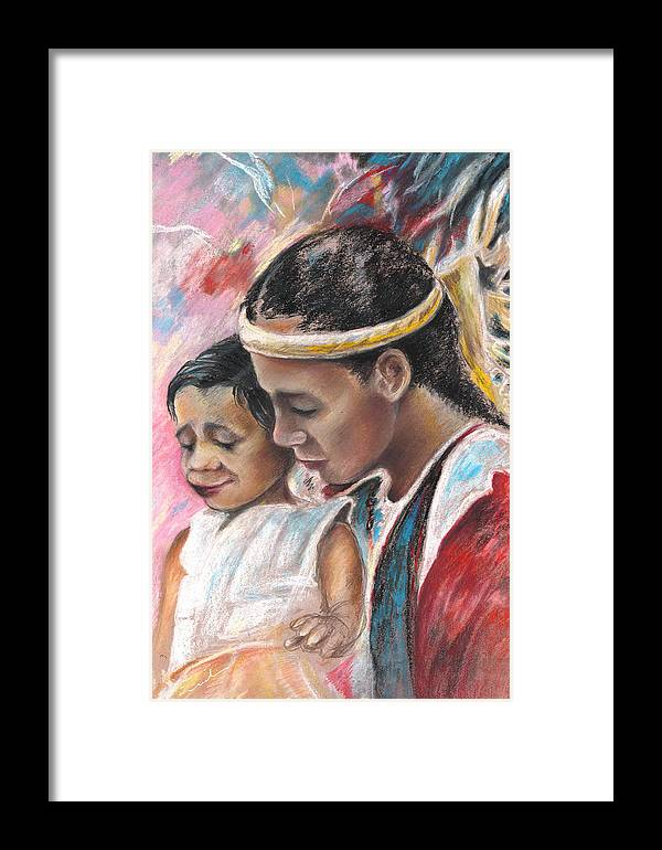 Travel Framed Print featuring the painting Young Polynesian Mama With Child by Miki De Goodaboom