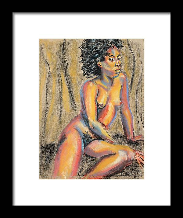 Nude Pastel Painting Framed Print featuring the pastel Young Woman Resting And Contemplating by Asha Carolyn Young