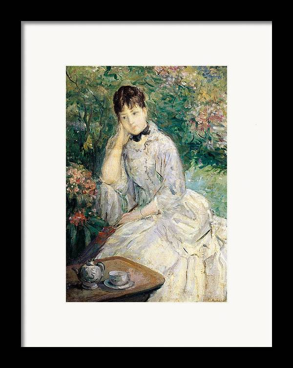 Art Framed Print featuring the painting Young Woman Seated On A Sofa by Berthe Morisot