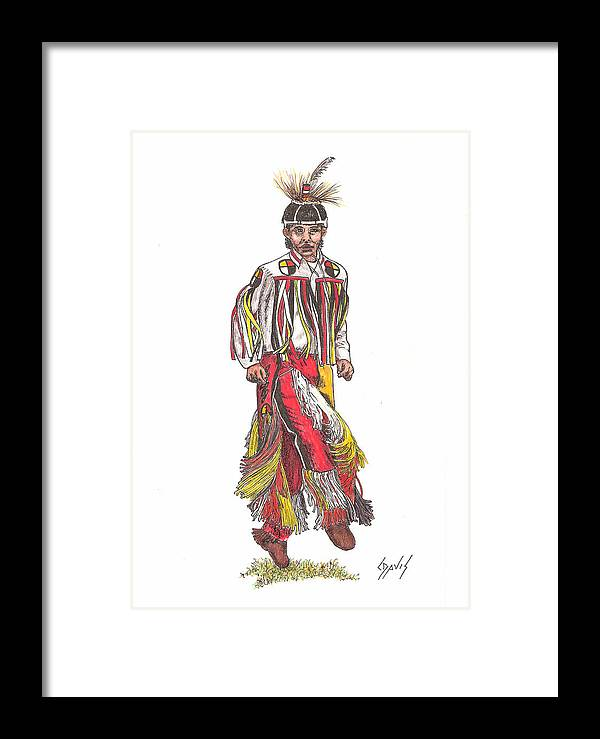 Indian Framed Print featuring the drawing Youth Dance by Lew Davis